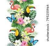 tropical seamless vertical... | Shutterstock .eps vector #795255964