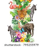 tropical seamless vertical... | Shutterstock .eps vector #795255979