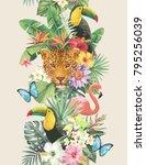 tropical seamless vertical...   Shutterstock .eps vector #795256039