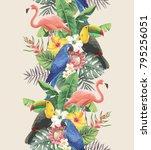 tropical seamless vertical...   Shutterstock .eps vector #795256051