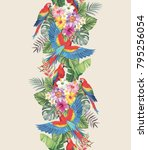 tropical seamless vertical... | Shutterstock .eps vector #795256054