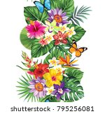 tropical seamless vertical... | Shutterstock .eps vector #795256081