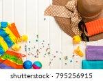 set of summer object on white... | Shutterstock . vector #795256915