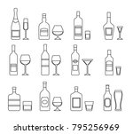 linear alcohol bottles and... | Shutterstock .eps vector #795256969