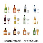 alcohol bottles and glasses.... | Shutterstock .eps vector #795256981