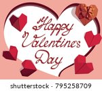happy valentines day greeting... | Shutterstock .eps vector #795258709