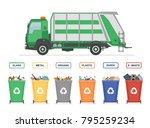 garbage truck and garbage cans... | Shutterstock .eps vector #795259234