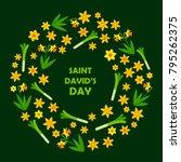 saint david's day card. wreath... | Shutterstock .eps vector #795262375