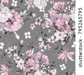 seamless pattern with flowers... | Shutterstock . vector #795265795