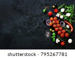 fresh vegetables  herbs  onion  ... | Shutterstock . vector #795267781