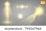 light effects. a set of golden ... | Shutterstock .eps vector #795267964