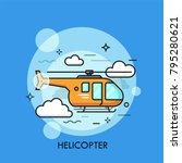 Orange Helicopter Flying...