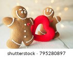 smiling gingerbread man with... | Shutterstock . vector #795280897