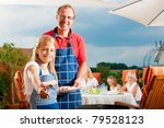 happy family having a barbecue... | Shutterstock . vector #79528123