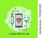 syringe and stethoscope... | Shutterstock .eps vector #795282109