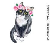 Stock photo black cat in a flower wreath crown with roses watercolor illustration template close up clip 795282337