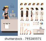 retail cashier woman character... | Shutterstock .eps vector #795285571