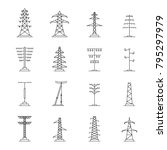 electrical tower high voltage...   Shutterstock .eps vector #795297979