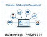 crm concept design with vector... | Shutterstock .eps vector #795298999
