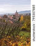 Small photo of View of Riquewihr village and vineyards from the hill, Alsace, France