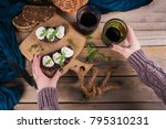 bruschetta with fig jam  goat... | Shutterstock . vector #795310231