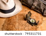 old expedition map with compass ... | Shutterstock . vector #795311731