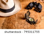 old expedition map with compass ... | Shutterstock . vector #795311755