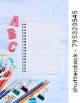 group of school objects on... | Shutterstock . vector #795323545