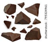 broken chocolate pieces  or...