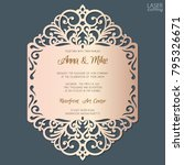wedding invitation with lace... | Shutterstock .eps vector #795326671