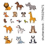 cute animals cartoons icons | Shutterstock .eps vector #795329671