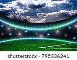 soccer stadium with lights | Shutterstock . vector #795336241
