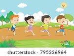 happy kids running marathon... | Shutterstock . vector #795336964