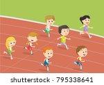 happy kids running  on the... | Shutterstock .eps vector #795338641