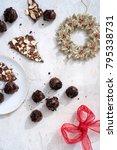dark chocolate truffles dusted... | Shutterstock . vector #795338731