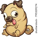 fat pug dog looking down.... | Shutterstock .eps vector #795339274