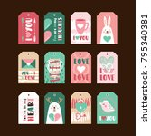 set of cute gift tags for... | Shutterstock .eps vector #795340381