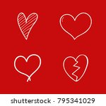 cute hand drawn hearts  ... | Shutterstock .eps vector #795341029