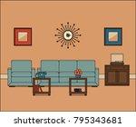 living room in line art. retro... | Shutterstock .eps vector #795343681