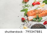 raw salmon fish fillet steaks... | Shutterstock . vector #795347881
