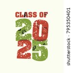 the words class of 2025 concept ... | Shutterstock .eps vector #795350401