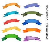 set of ten multicolor ribbons... | Shutterstock .eps vector #795360931