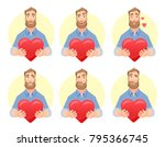 heart in hand. man offering... | Shutterstock .eps vector #795366745