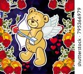 cute teddy bear on a mosaic... | Shutterstock .eps vector #795366979