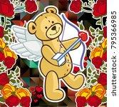 cute teddy bear on a mosaic... | Shutterstock .eps vector #795366985
