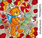 cute teddy bear on a mosaic... | Shutterstock .eps vector #795366991