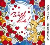 cute teddy bear on a mosaic... | Shutterstock .eps vector #795367009