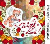 cute teddy bear on a mosaic... | Shutterstock .eps vector #795367015