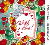 cute teddy bear on a mosaic... | Shutterstock .eps vector #795367021