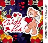 cute teddy bear on a mosaic... | Shutterstock .eps vector #795367039